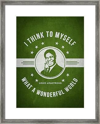 Louis Armstrong - Green Framed Print by Aged Pixel
