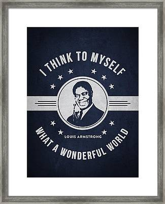 Louis Armstrong - Navy Blue Framed Print by Aged Pixel