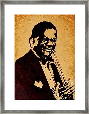 Louis Armstrong Original Coffee Painting Art Framed Print by Georgeta  Blanaru