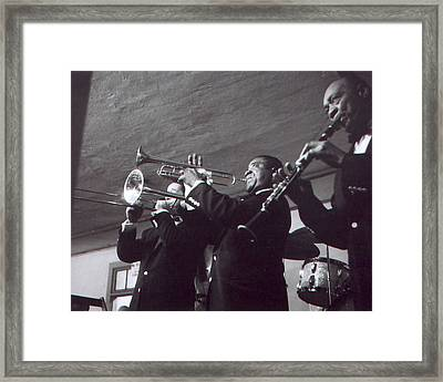Louis Armstrong Playing The Trumpet With Band Framed Print by Retro Images Archive