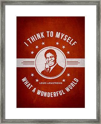Louis Armstrong - Red Framed Print by Aged Pixel