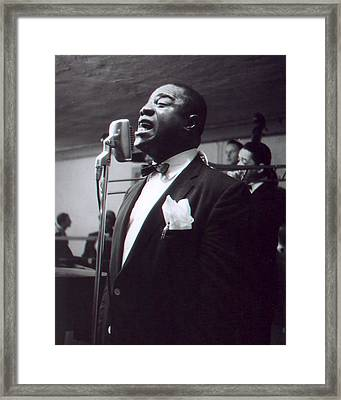 Louis Armstrong Singing To The Crowd Framed Print by Retro Images Archive