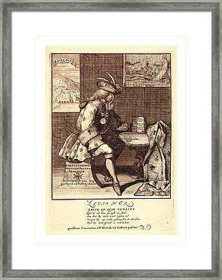 Louis Dor, 1705, 1 Print  Etching., Print Shows Louis Xiv Framed Print by English School