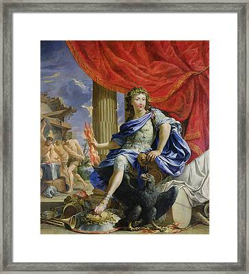 Louis Xiv 1638-1715 As Jupiter Conquering The Fronde, 1648-67 Oil On Canvas Framed Print by Charles Poerson