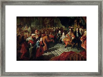 Louis Xiv 1638-1715 Receiving The Persian Ambassador Mohammed Reza Beg In The Galerie Des Glaces Framed Print