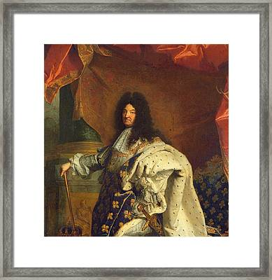 Louis Xiv In Royal Costume, 1701 Oil On Canvas Detail Of 59867 Framed Print by Hyacinthe Francois Rigaud
