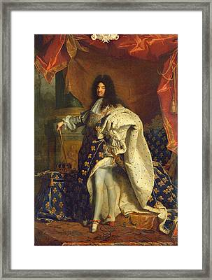 Louis Xiv In Royal Costume, 1701 Oil On Canvas Framed Print by Hyacinthe Francois Rigaud
