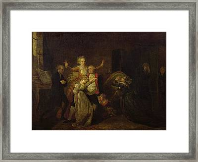 Louis Xvi 1754-93 Bidding Farewell To His Family At The Temple, 20th January 1793 Oil On Canvas Framed Print by Charles Benazech