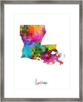 Louisiana Map Framed Print by Michael Tompsett