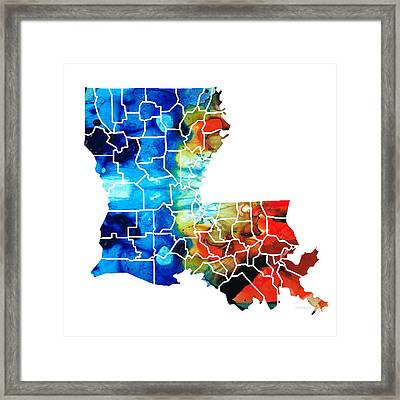 Louisiana Map - State Maps By Sharon Cummings Framed Print by Sharon Cummings