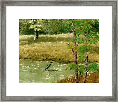 Framed Print featuring the painting Louisiana Pond With Heron by Lenora  De Lude