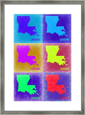 Louisiana Pop Art Map 2 Framed Print by Naxart Studio