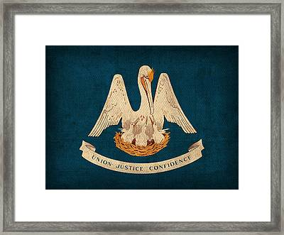 Louisiana State Flag Art On Worn Canvas Framed Print by Design Turnpike