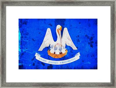 Louisiana State Flag On Worn Canvas Framed Print by Dan Sproul