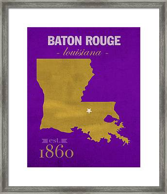 Louisiana State University Tigers Baton Rouge La College Town State Map Poster Series No 055 Framed Print