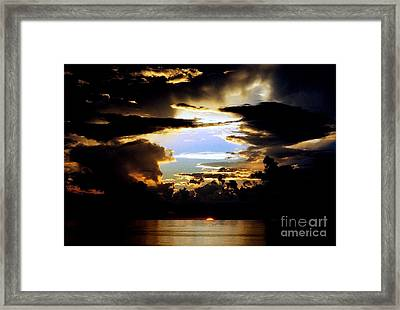 Louisiana Sunset Blue In The Gulf  Of Mexico Framed Print
