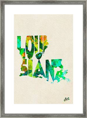 Louisiana Typographic Watercolor Map Framed Print by Ayse Deniz