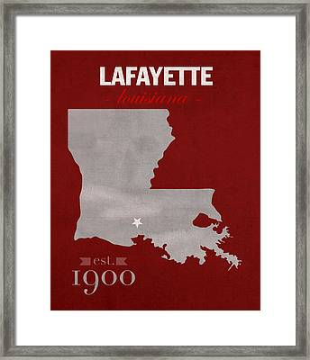 Louisiana University Lafayette Ragin Cajuns College Town State Map Poster Series No 057 Framed Print