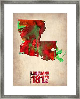 Louisiana Watercolor Map Framed Print by Naxart Studio