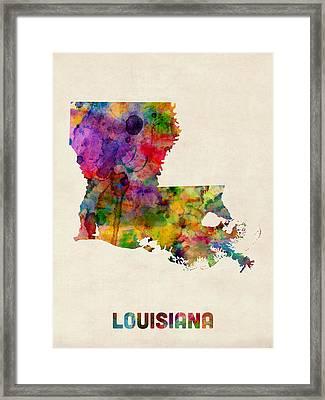 Louisiana Watercolor Map Framed Print by Michael Tompsett