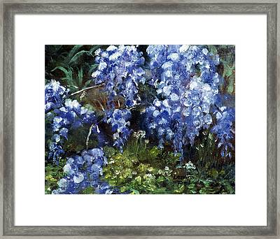Framed Print featuring the painting Louisiana Wisteria by Lenora  De Lude