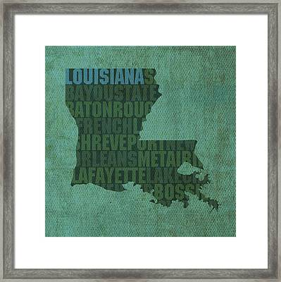 Louisiana Word Art State Map On Canvas Framed Print