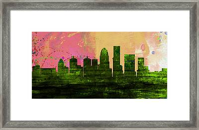Louisville City Skyline Framed Print by Naxart Studio