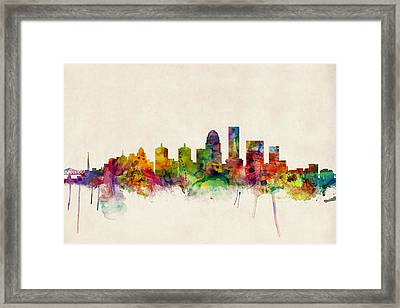 Louisville Kentucky City Skyline Framed Print