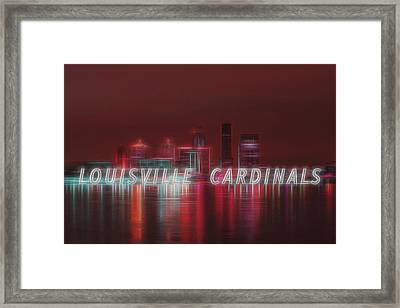 Louisville Kentucky Skyline Red Univ Of Louisville Framed Print