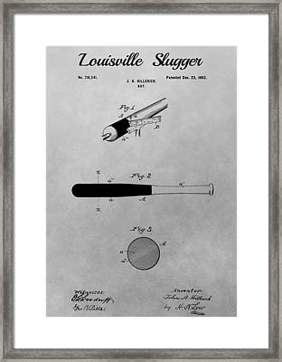 Louisville Slugger Patent Drawing Framed Print