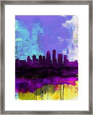 Louisville Watercolor Skyline Framed Print