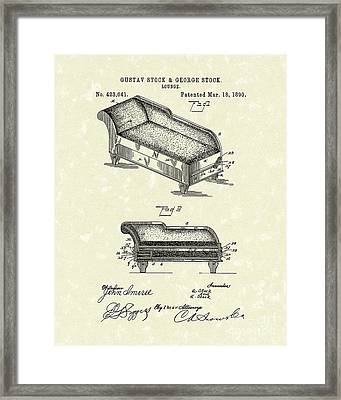 Lounge 1890 Patent Art Framed Print by Prior Art Design
