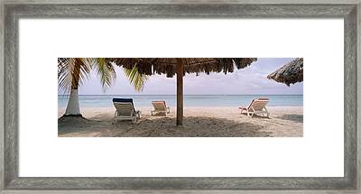 Lounge Chairs On 7-mile Beach, Negril Framed Print