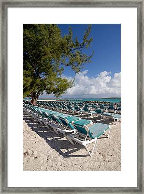 Lounge Chairs On The Beach Framed Print by Amy Cicconi