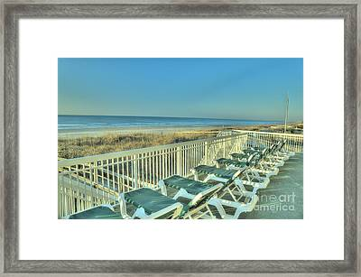 Lounge Chairs Overlooking Beach Framed Print