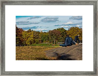Lounging In Central Park Framed Print