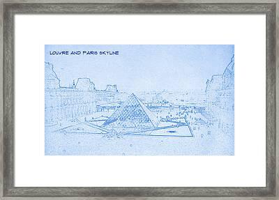 Louvre And Paris Skyline  - Blueprint Drawing Framed Print