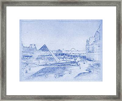 Louvre And Paris Skyline Blueprint Framed Print by Kaleidoscopik Photography