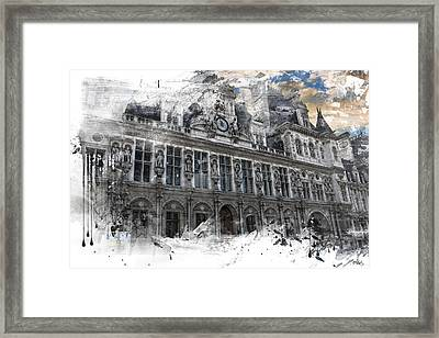 Louvre In A Splash Framed Print by Evie Carrier