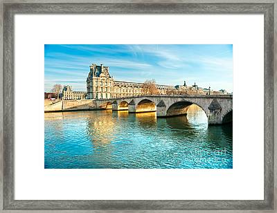 Louvre Museum And Pont Royal - Paris  Framed Print