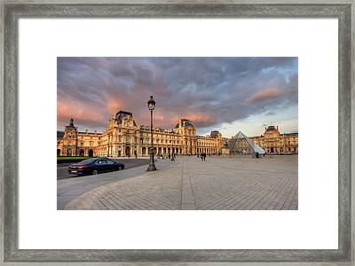 Louvre Museum At Sunset Framed Print by Ioan Panaite
