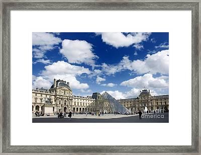 Louvre Museum. The Pyramid. Paris Framed Print by Bernard Jaubert