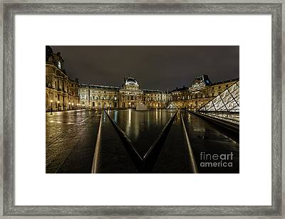 Louvre Pyramid And Pavillon Richelieu Framed Print by Rostislav Bychkov