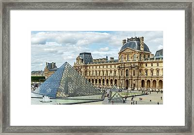 Louvre Pyramids And Buildings Framed Print by Babak Tafreshi