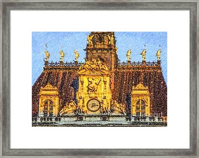 Louvre Roof Framed Print by Liz Leyden