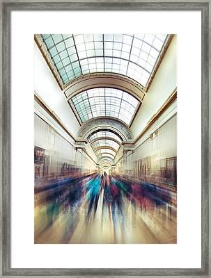 Louvre Rush Framed Print