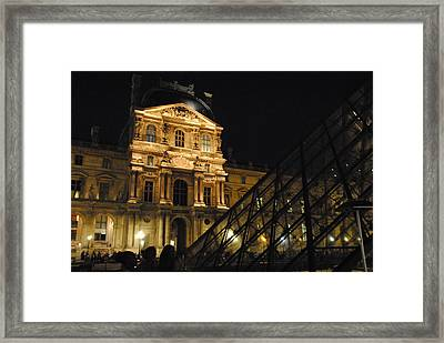 Louvre With Pyramid - Nite Framed Print by Jacqueline M Lewis
