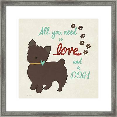 Love & A Dog Framed Print by Jo Moulton