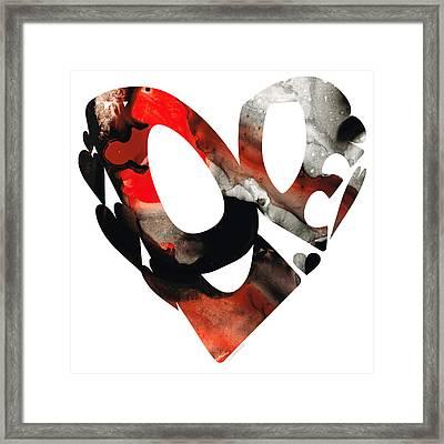 Love 18- Heart Hearts Romantic Art Framed Print by Sharon Cummings