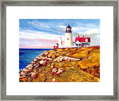 Love A White Lighthouse Framed Print by Jim Phillips